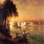 Albert Bierstadt (1830-1902)  The Falls of St. Anthony  Oil on canvas, c.1880-1887  38 x 60 1/2 inches (96.8 x 153.7 cm)  Thyssen-Bornemisza Collection, Madrid